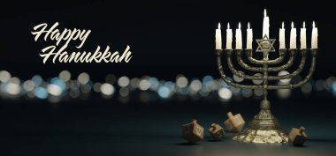 View of a Hannukkah background with ornament and light atmosphere stock vector