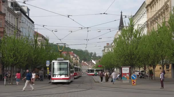 BRNO, CZECH REPUBLIC - APRIL 24, 2018: The modern tram departs from the stop