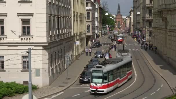 BRNO, CZECH REPUBLIC - APRIL 24, 2018: View on the Husova street, April day