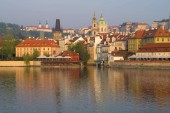 Fotografie Mala Strana is the historic district of Prague on the morning of April. Czech Republic