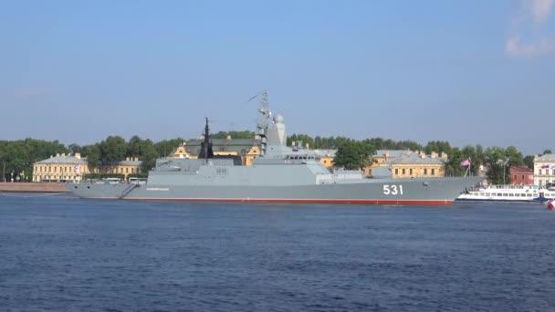 SAINT PETERSBURG, RUSSIA - JULY 28, 2018: Guards Corvette Smart Baltic fleet in the waters of the Neva. Navy day in St. Petersburg