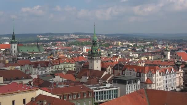 View of the tower of the old town hall on April day. Brno, Czech Republic
