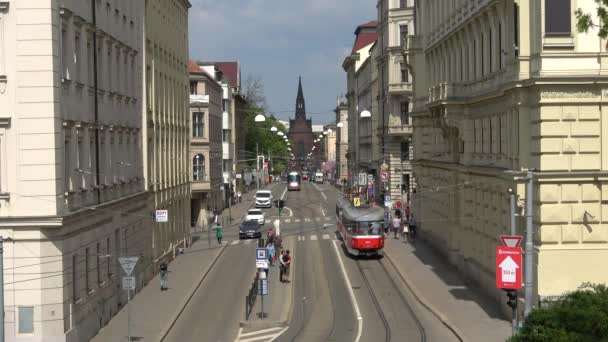 BRNO, CZECH REPUBLIC - APRIL 24, 2018: Traffic on Husova the street