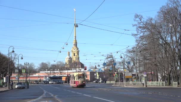 SAINT PETERSBURG, RUSSIA - APRIL 07, 2018: Tram on the background of Peter and Paul Cathedral. Sunny April day
