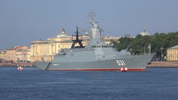 SAINT PETERSBURG, RUSSIA - JULY 28, 2018: Corvette project 20380 Soobrasitelny close-up in the waters of the Neva. Preparation for Navy Day
