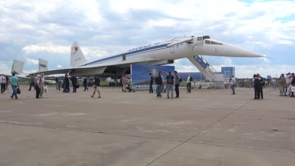 ZHUKOVSKY, RUSSIA - JULY 20, 2017: Soviet supersonic passenger aircraft Tu-144 at the exhibition MAKS-2017