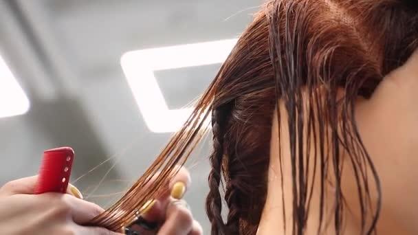 elegán simuluje stříhání vlasů nůžkami na hlavu, postupy a trénink, kadeřnictví, pohled z boku
