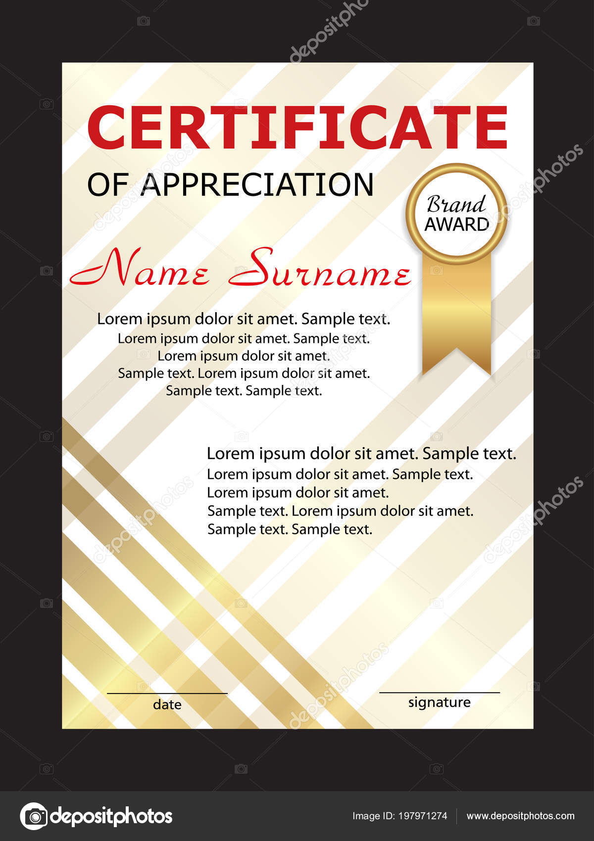 Certificate Appreciation Diploma Vertical Template Winning