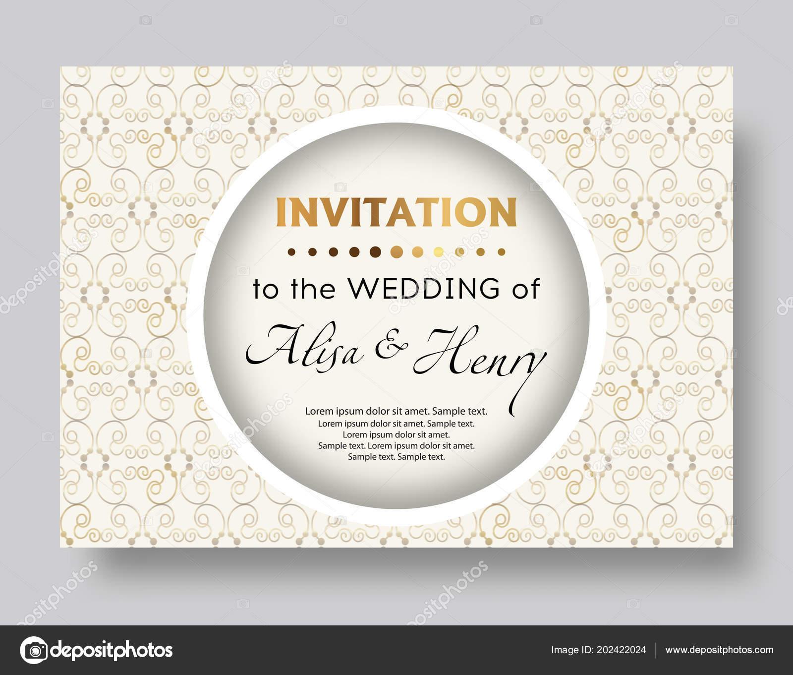 Wedding Invitation Template Elegant Background Golden