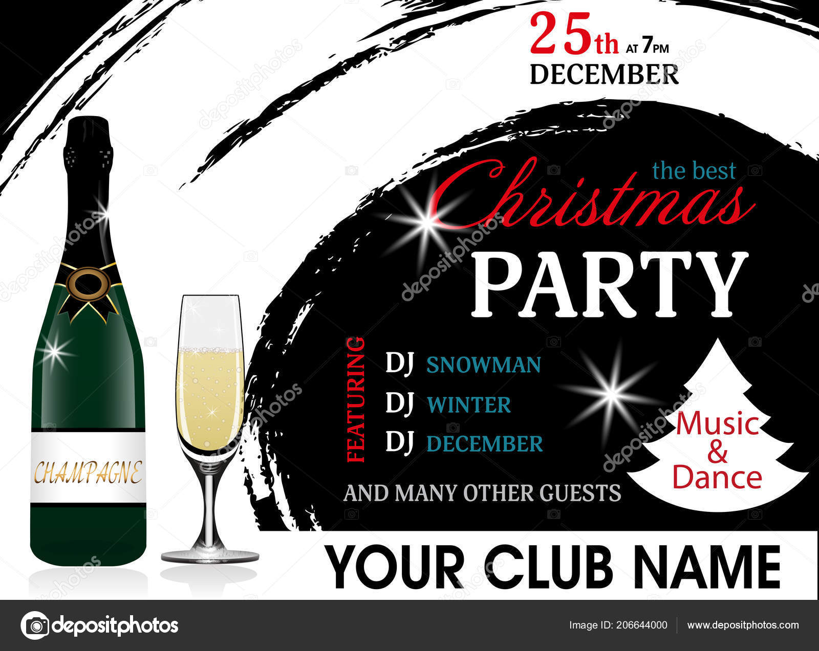christmas party invitation template champagne bottle wineglass new year background stock vector