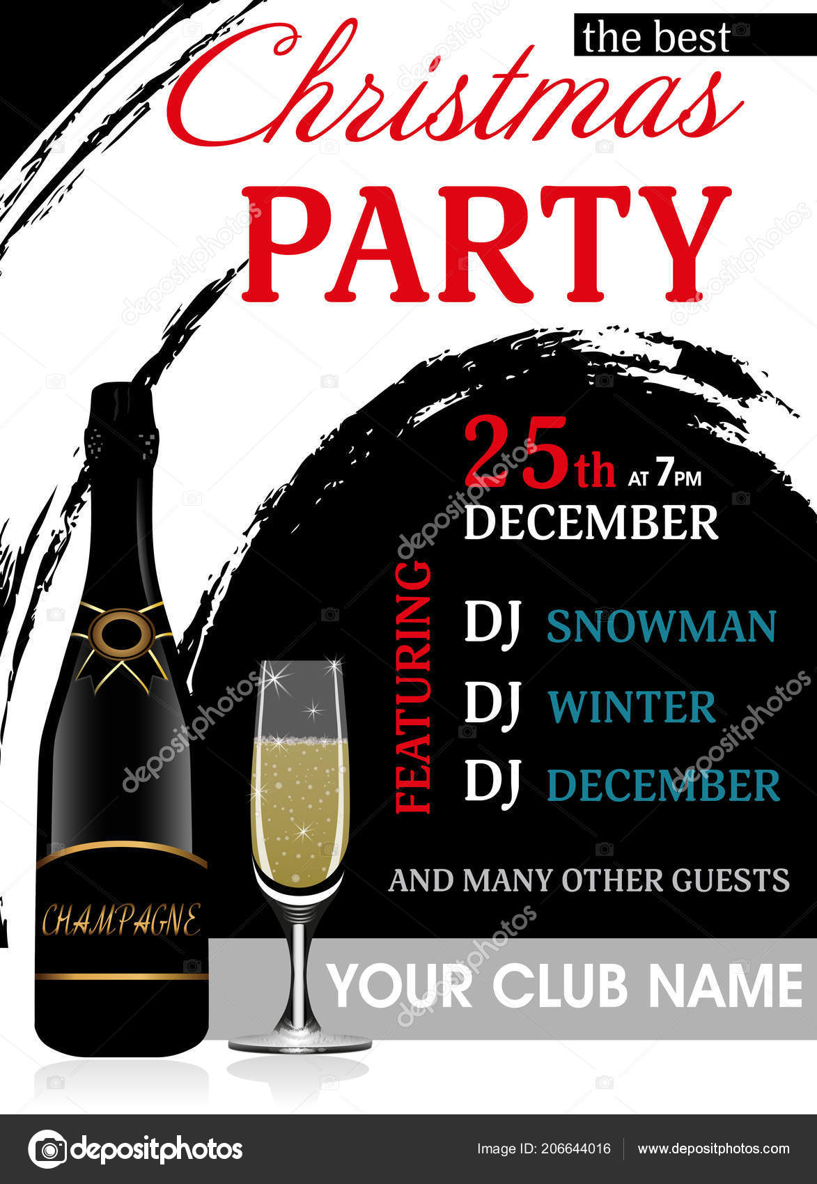 christmas party invitation vertical template champagne bottle wineglass new year stock vector