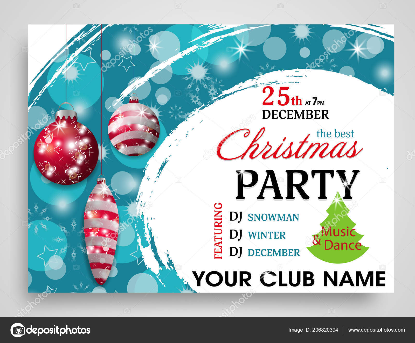 Christmas Party Invitation Template Red Baubles Horizontal New Year