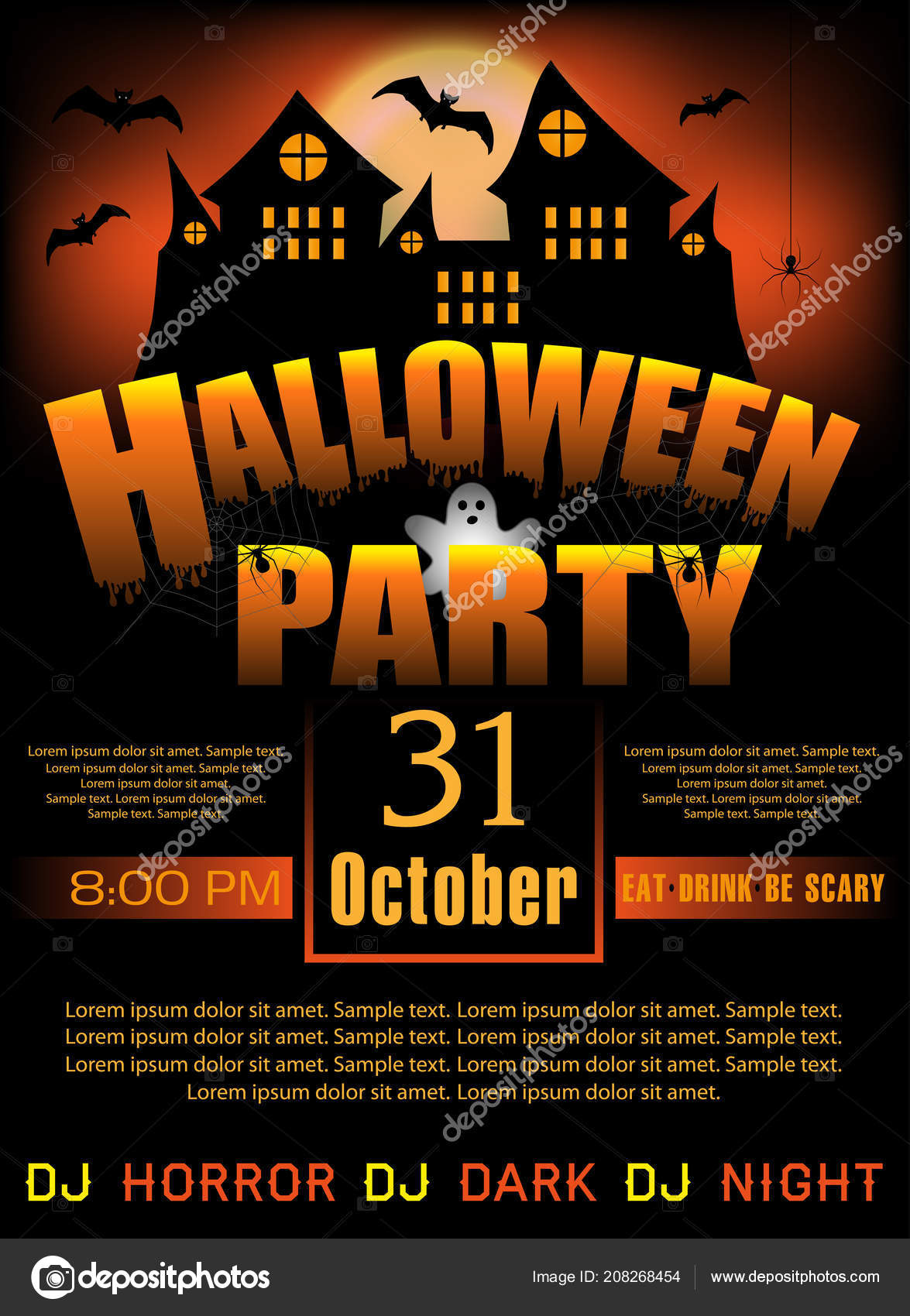 Halloween Party Invitation Template Poster Banner Vertical