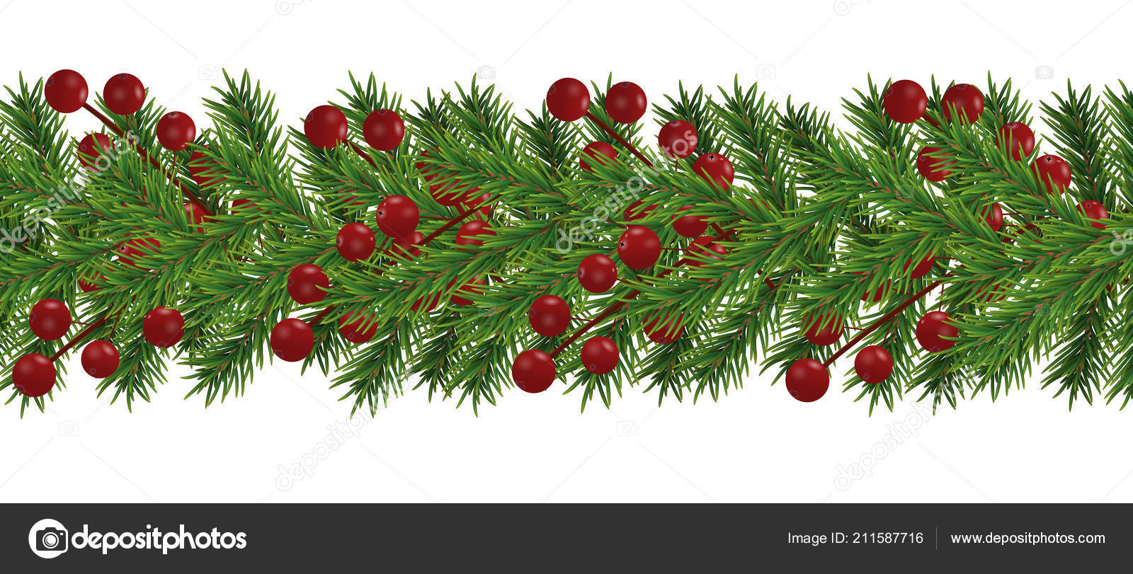 Border Realistic Looking Christmas Tree Branches Decorated Berries