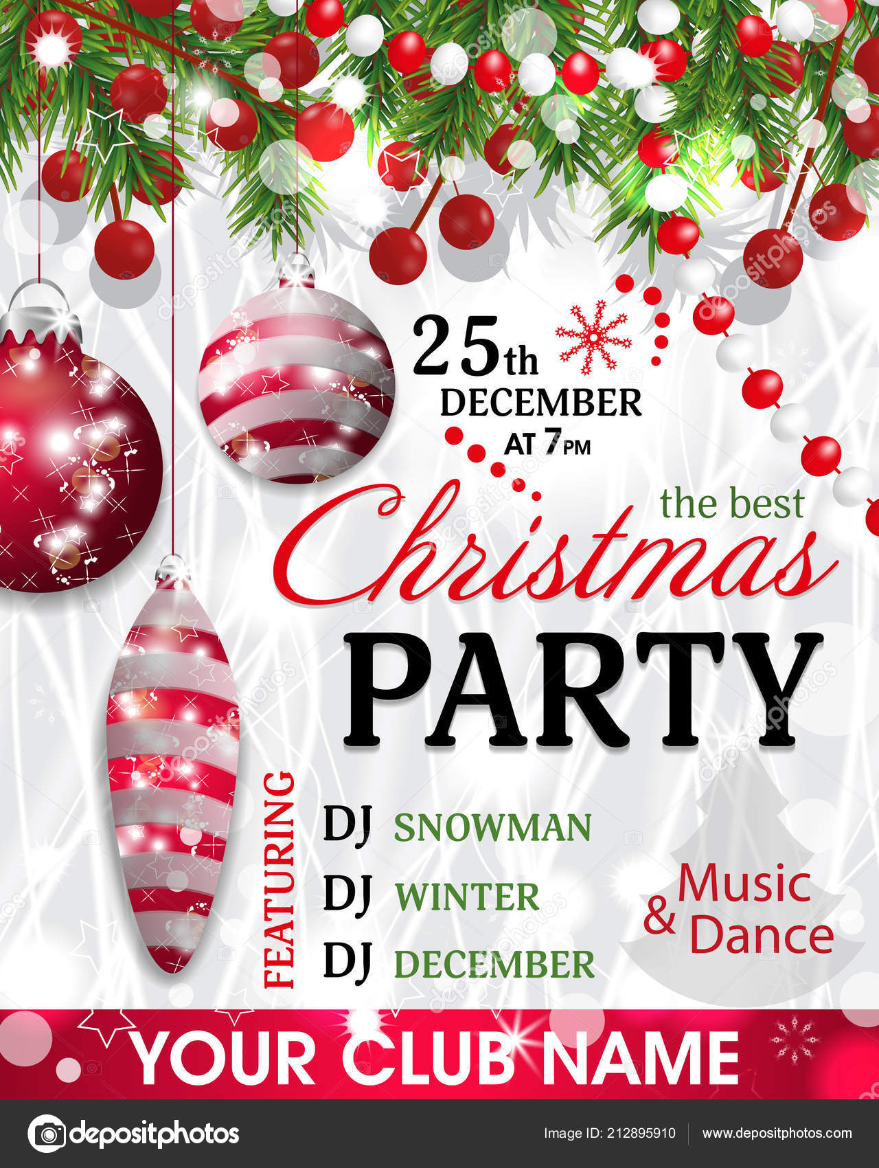 christmas party invitation template background fir branches beads