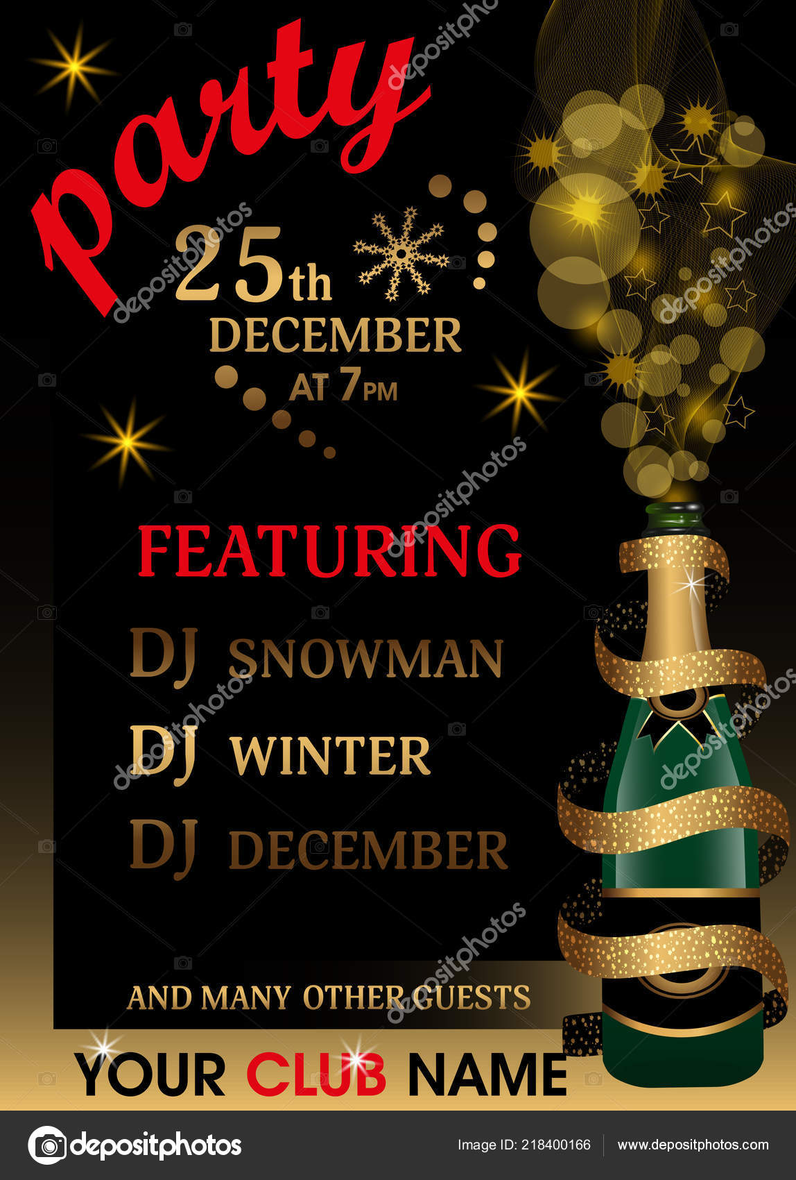 christmas or new year party invitation template holiday background with champagne bottle covered by ribbon with golden glitter vector illustration