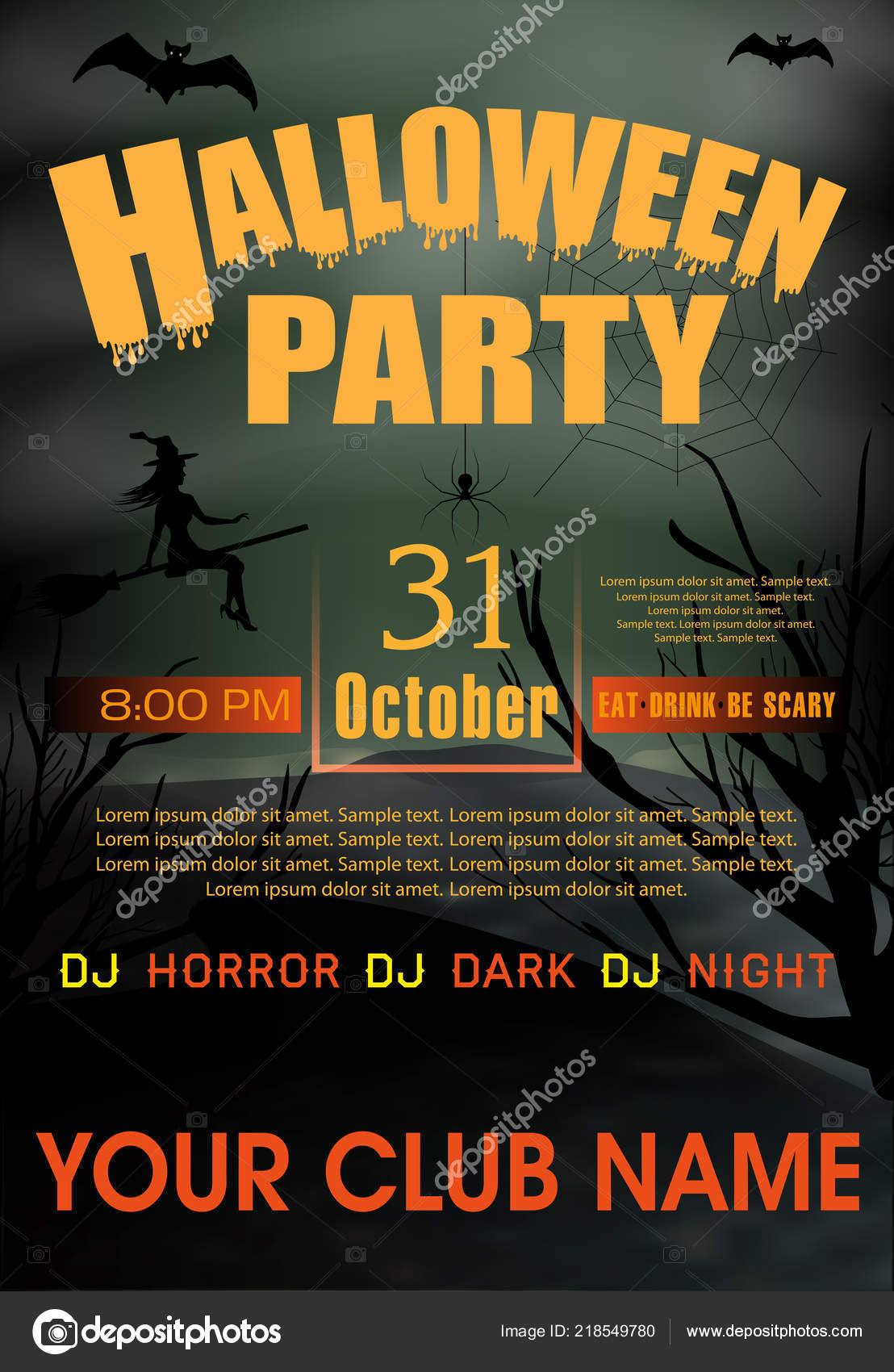 halloween party invitation template holiday background vector