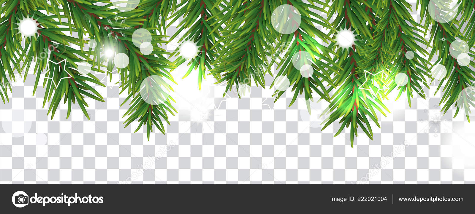 christmas and happy new year border of christmas tree branches on transparent background holidays decoration vector illustration