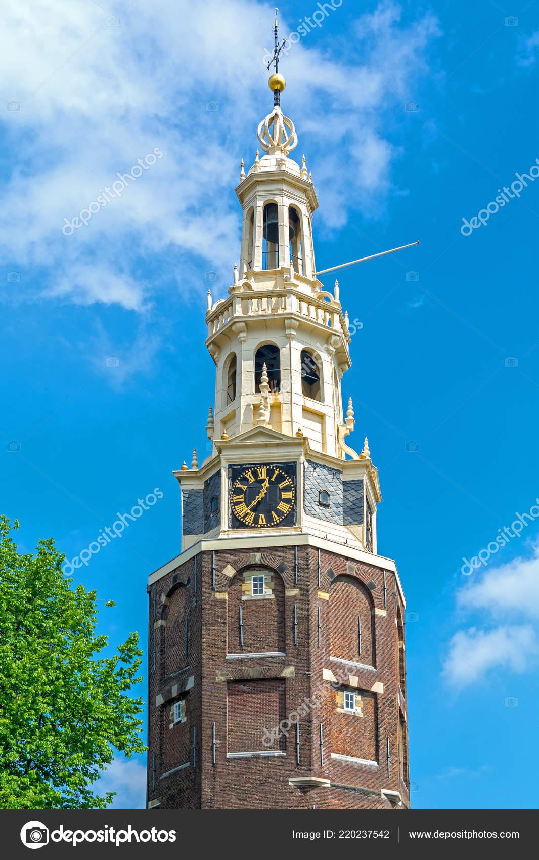 Montel Cloud Hoekbank.Montelbaanstoren Tower Bank Canal Oudeschans Amsterdam