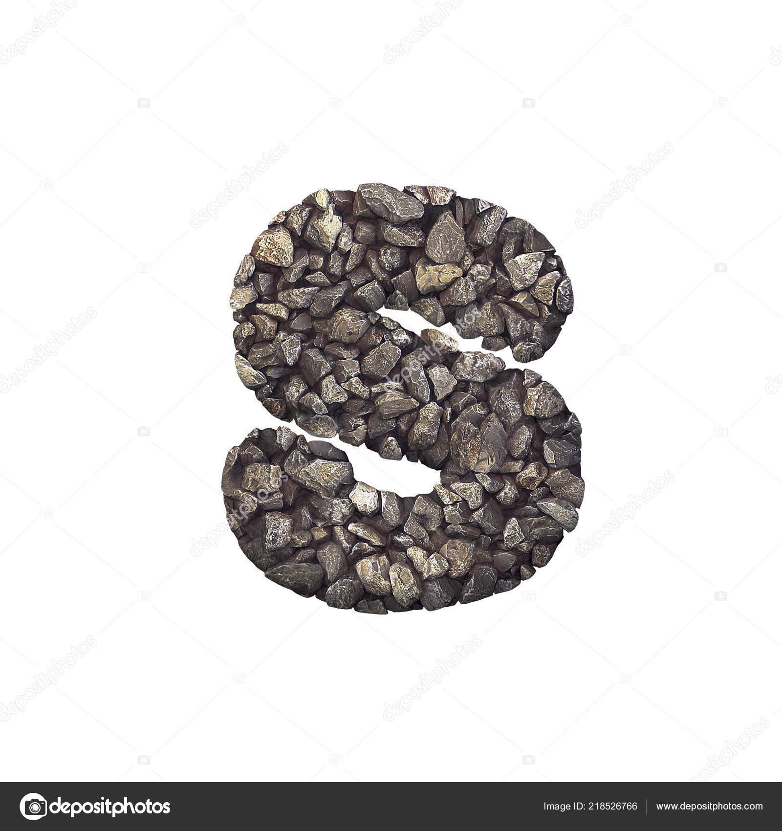 Gravel Letter Lowercase Crushed Rock Font Isolated White