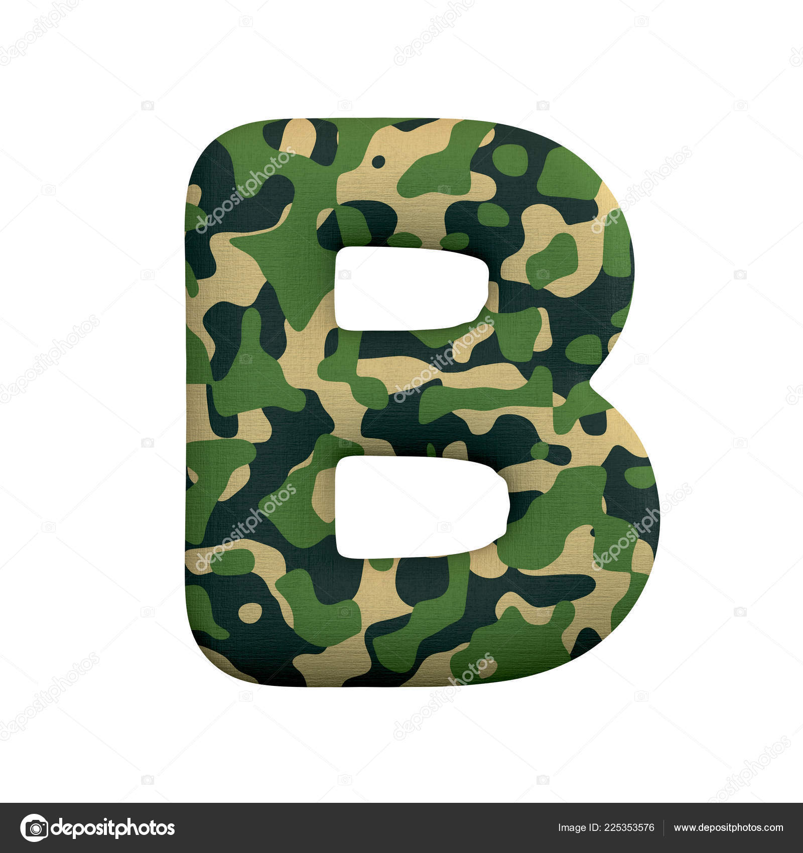 Army Letter Large Camo Font Isolated White Background
