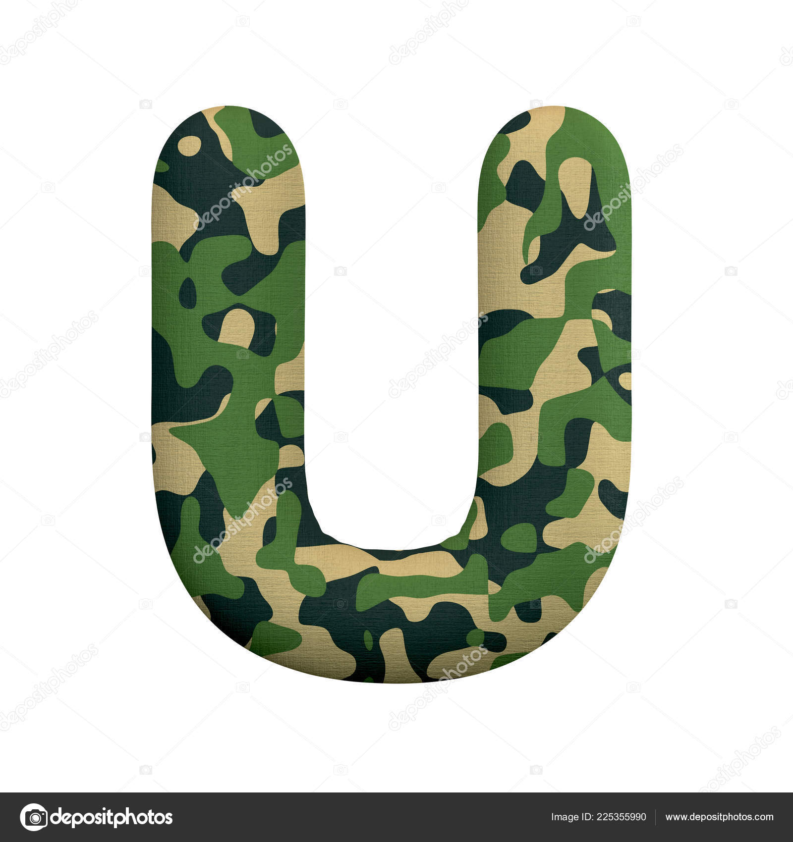 Army Letter Upper Case Camo Font Isolated White Background