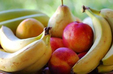 bananas, pear and peaches, ripe fruit