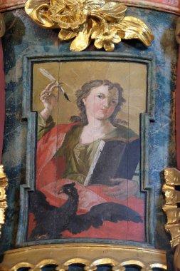 Saint John the Evangelist, pulpit in the church of Holy Trinity in Klenovnik, Croatia