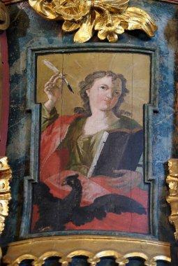 Saint John the Evangelist, pulpit in the church of Holy Trinity in Klenovnik, Croatia o
