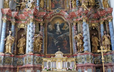 Assumption of the Virgin Mary, altar in cathedral of Assumption in Varazdin, Croatia