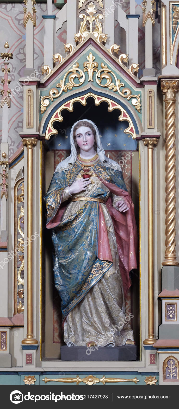 depositphotos 217427928 stock photo immaculate heart mary statue sacred