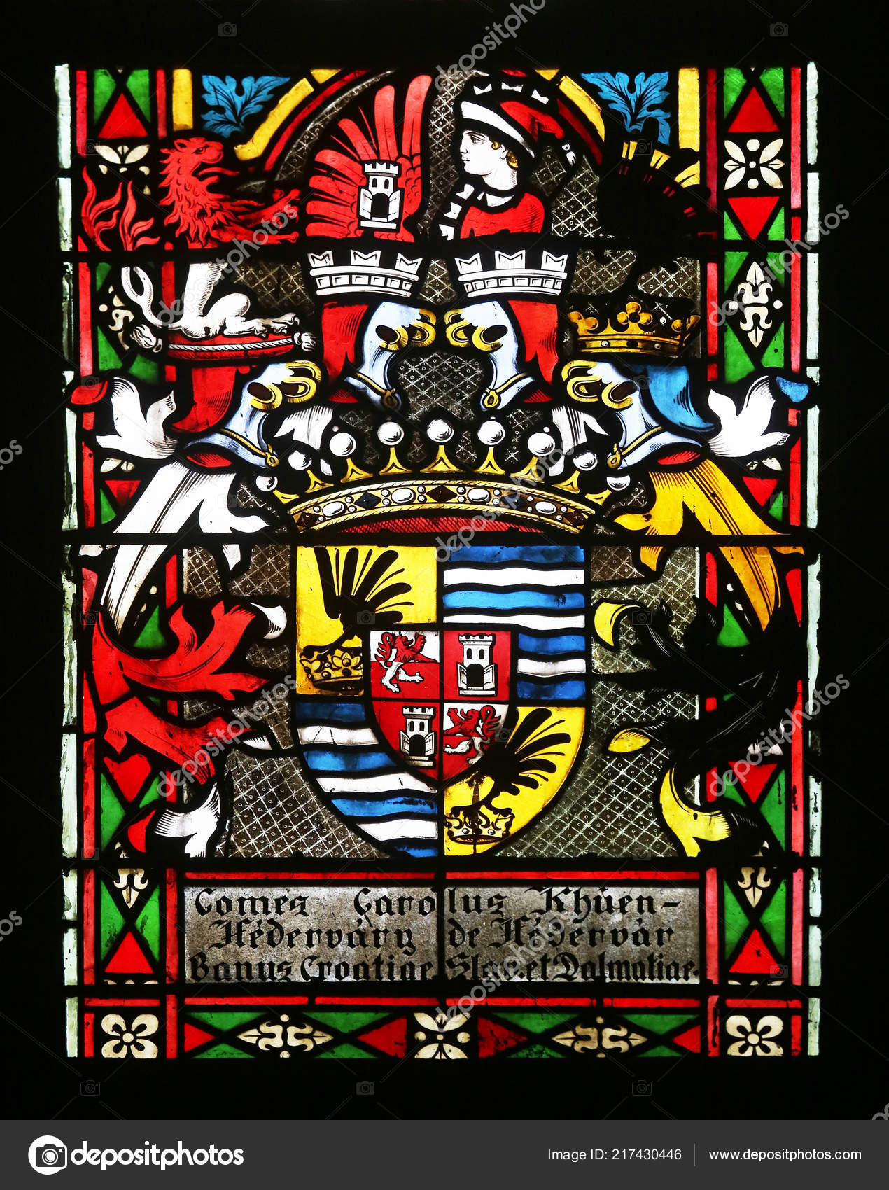 Coat Arms Ban Khuen Hedervary Stained Glass Zagreb Cathedral Dedicated Stock Editorial Photo C Zatletic 217430446