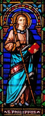 Saint Philip the Apostle, stained glass window in the San Michele in Foro church in Lucca, Tuscany, Italy