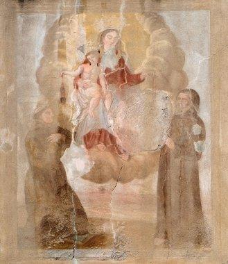 "Картина, постер, плакат, фотообои ""Девы Марии с младенцем Иисусом и Святым, фасад дома в Лукка, Тоскана, Италия "", артикул 217445604"