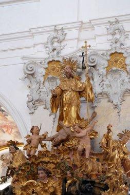 """Картина, постер, плакат, фотообои """"Статуя Святого Бенедикта на кафедру в Аморбах бенедиктинский монастырь церковь в районе Таубербишофсхайм в нижней Франконии в Баварии, Германия"""", артикул 217542684"""