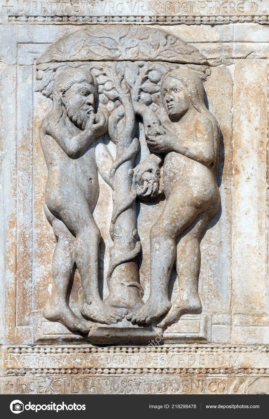 Adam Eve Eat Fruit Forbidden Tree Medieval Relief Facade Basilica