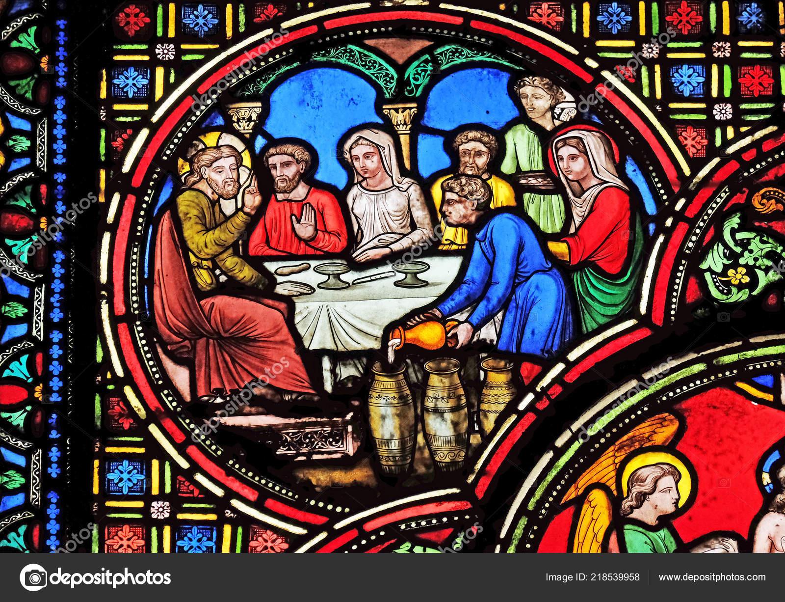 Hochzeit Kana Glasfenster Von Saint Germain Auxerrois Kirche Paris