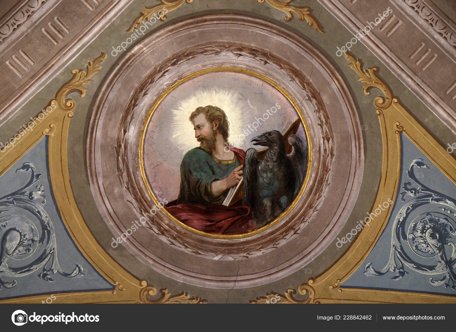 Saint John Evangelist Ceiling Fresco Church Victor Fishermen
