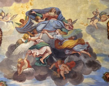 Assumption of the Virgin Mary, fresco of the vault of Marco Antonio Pozzi in the Saint Roch church in Lugano, Switzerland