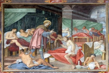 Scene of Saint Roch's life, by Marco Antonio Pozzi, fresco in the Saint Roch church in Lugano, Switzerland
