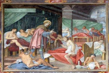 Scene of Saint Roch's life, by Marco Antonio Pozzi, fresco in the Saint Roch church in Lugano, Switzerland