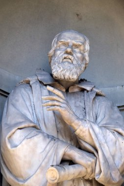 Galileo Galilei, statue in the Niches of the Uffizi Colonnade. The first half of the 19th Century they were occupied by 28 statues of famous people in Florence, Italy