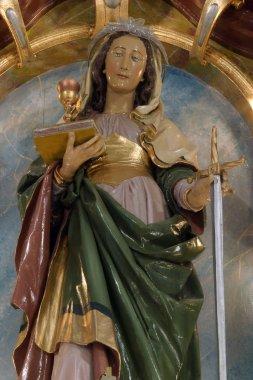 Saint Barbara statue on the main altar in the Church of Saint Barbara in Rude, Croatia