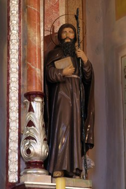 Saint Anthony the Great, statue on the altar of Saint Joseph in the Church of Saint Barbara in Rude, Croatia