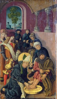 Louis is washing the feet of lepers and pilgrims, altar of St. Louis of Toulouse in St James Church in Rothenburg ob der Tauber, Germany