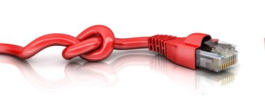 Internet cable disconnect, on white background. 3d illustration