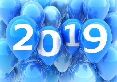 Sign new year 2019 on blue balloon. 3d illustration
