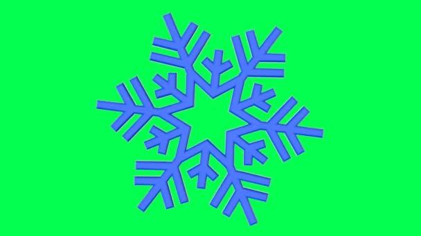 Kék Hópihe absztrakt térbeli alakját forog körül a saját forgástengely hatással a megvilágítás és a gondolatok 4k, elszigetelt egy zöld háttér