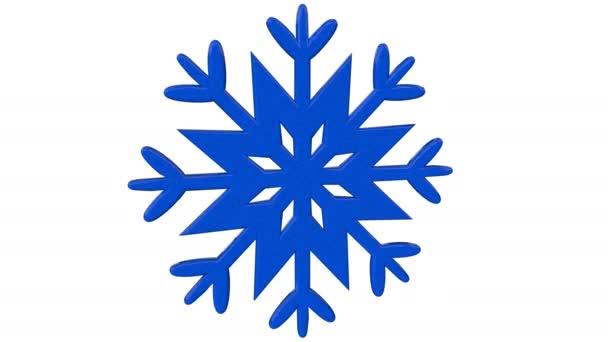Kék Hópihe absztrakt térbeli alakját forog körül a saját forgástengely hatással a megvilágítás és a gondolatok 4k, elszigetelt fehér background