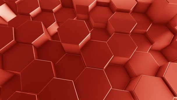 animierte 3D-Illustration eines roten Hintergrundes aus sechseckigen Zylindern, die sich zufällig relativ zueinander bewegen
